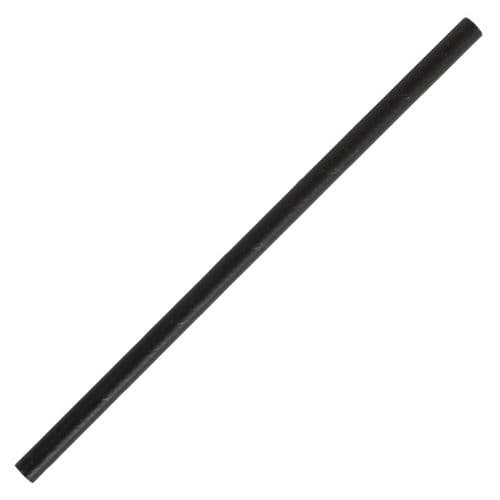 CY080 Fiesta Green Compostable Paper Cocktail Stirrer Straws Black (Pack of 250)